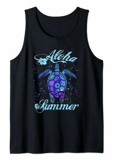 Blue Boho Sea Turtle Aloha Summer Tank Top