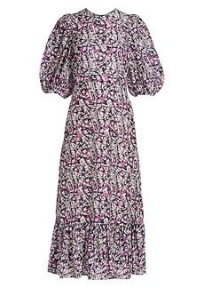 Sea Borealis Puff-Sleeve Midi Dress
