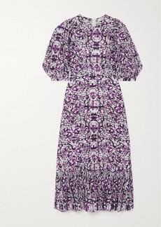 Sea Borealis Ruffled Printed Cotton And Silk-blend Midi Dress
