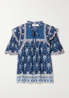 Sea Brigitte Ruffled Printed Cotton-voile Blouse