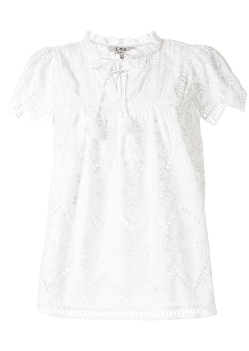 Sea Broderie Anglaise cotton blouse