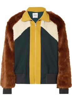 Sea Color-block Jersey, Faux Fur And Faux-shearling Track Jacket