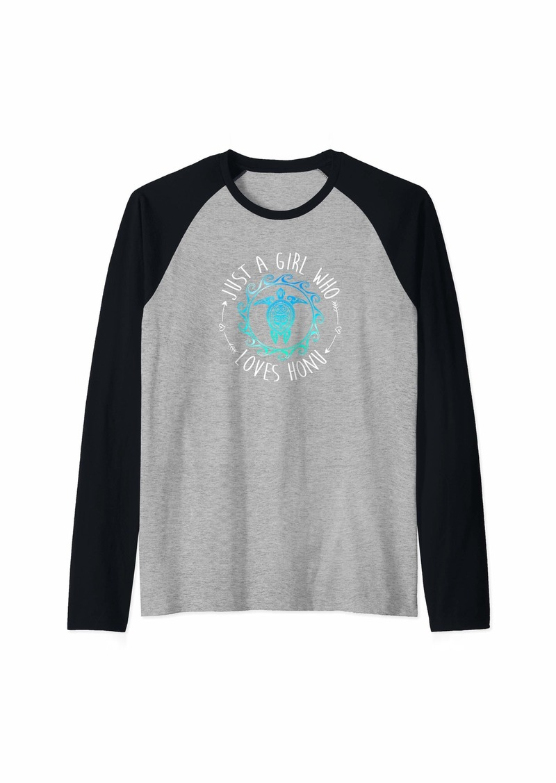 Sea Just A Girl Who Loves Honu Hawaiian Tribal Style Raglan Baseball Tee