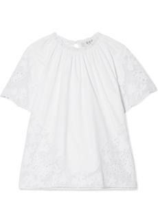 Sea Lace-paneled Cotton-poplin Top