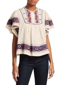 Sea Leah Puff Sleeve Embroidered Peasant Top