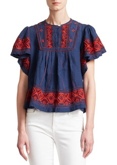 Sea Leah Puff Sleeve Embroiered Top