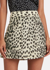 Sea Leopard Print Cotton Mini Skirt
