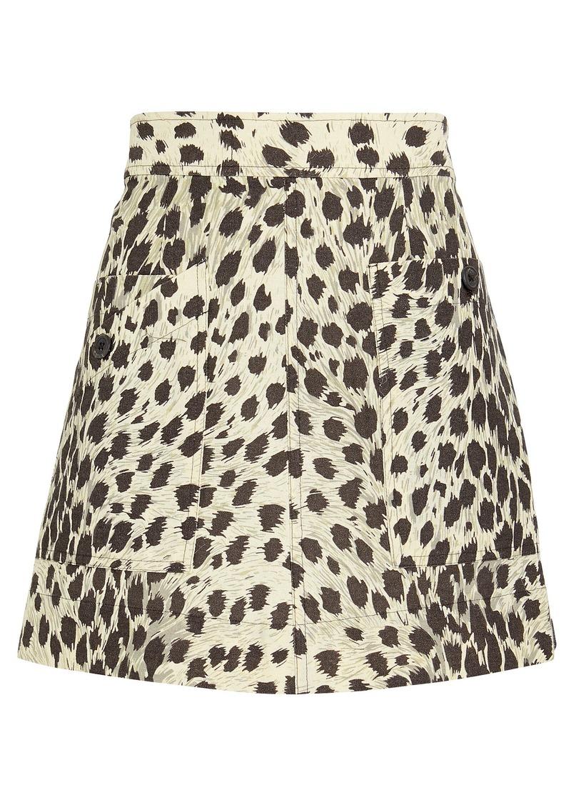 Leopard Print Cotton Mini Skirt