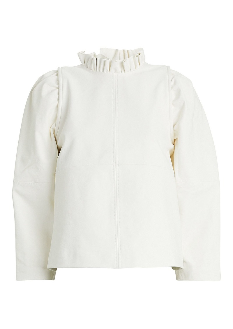 Sea Lidia Puff Sleeve Leather Top