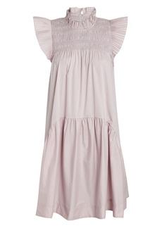 Sea Marlene Smocked Cotton Mini Dress