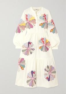 Sea Paloma Appliquéd Cotton-gauze Midi Shirt Dress