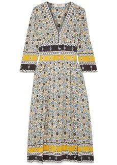 Sea Pleated floral-print silk-georgette midi dress