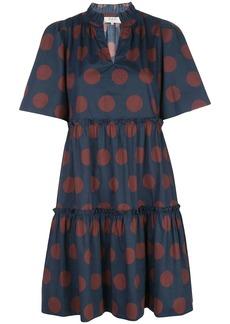 Sea polka-dot print gathered shift dress