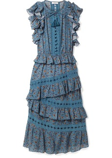 Sea Rosalie ruffled printed cotton-blend voile midi dress