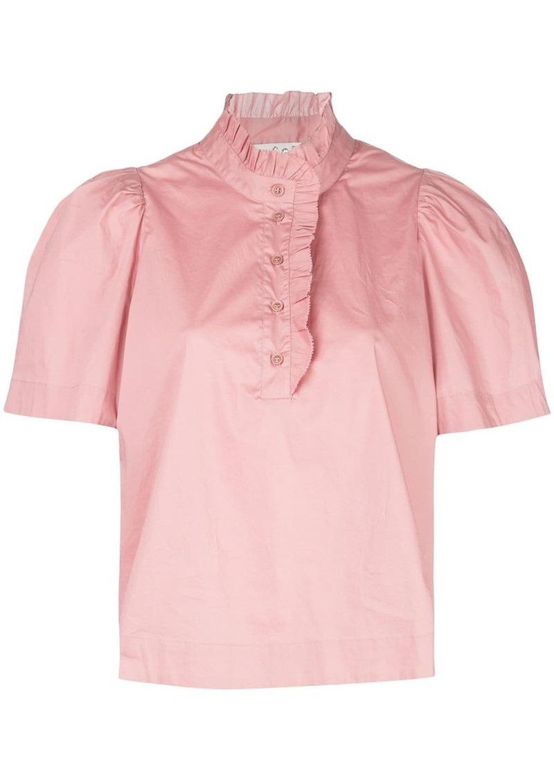 Sea ruffle band-collar short sleeved blouse