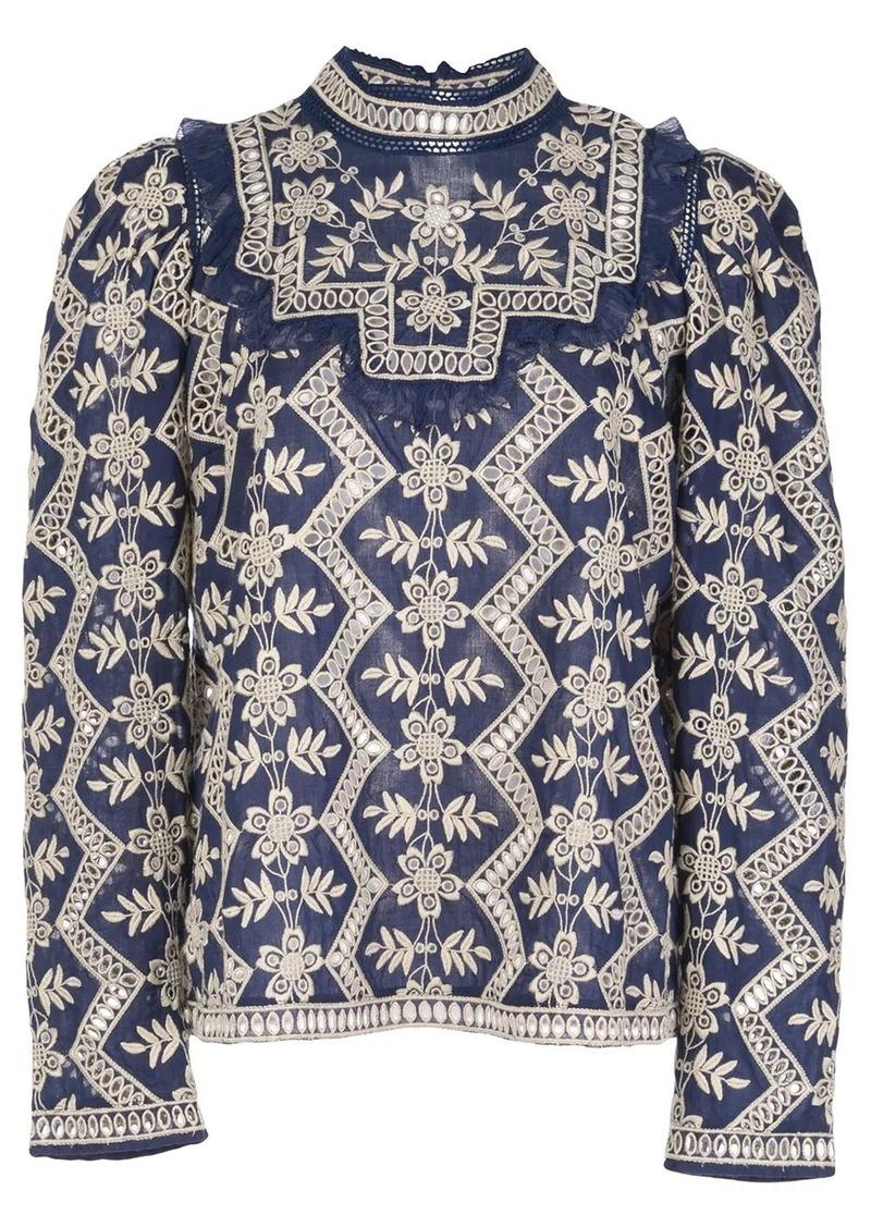Sea ruffle-trim printed blouse
