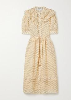 Sea Ruffled Floral-print Ramie Midi Dress
