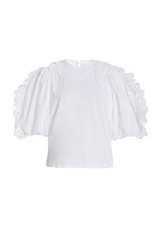 Sea - Women's Elodie Lace-Trimmed Cotton Top - White - Moda Operandi