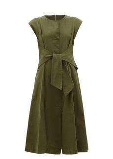 Sea Adalene tie-waist cotton-twill dress
