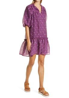 Sea Alexis Floral Puff Sleeve Virgin Wool Blend Dress