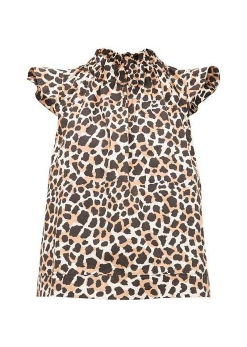 Sea Apollo animal-print cotton-poplin blouse