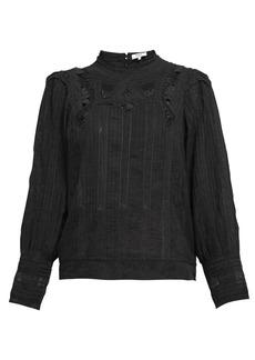 Sea Aster lace-insert cotton-blend blouse