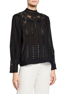 Sea Aster Mock-Neck Long-Sleeve Top with Lace Insets