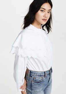 Sea Asymmetric Plymouth Ruffle Blouse