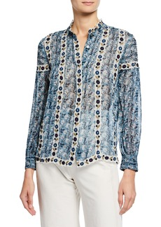 Sea Bella Floral-Print Button-Front Long-Sleeve Blouse w/ Embroidery