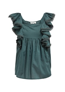 Sea Bella ruffle-sleeve cotton blouse