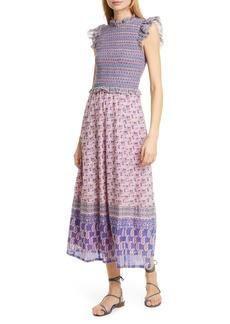 Sea Bianca Smocked Mixed Print Midi Dress