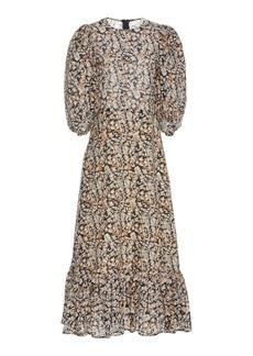 Sea Borealis Printed Cotton and Silk-Blend Midi Dress