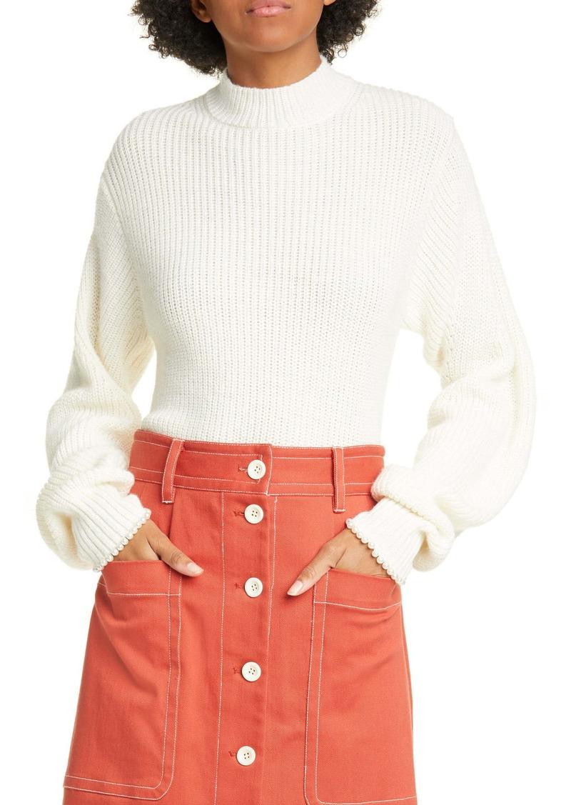 Sea Imitation Pearl Cuff Wool Blend Sweater