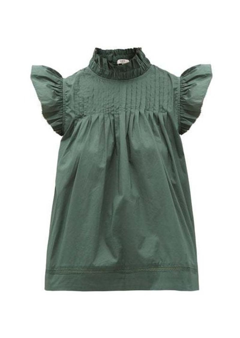 Sea Clara pintucked ruffled cotton-blend blouse