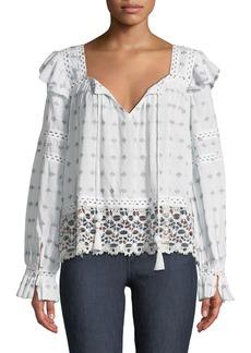 Sea Colette Split-Neck Long-Sleeve Embroidered Cotton Blouse