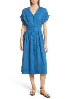 Sea Coraline Pleated Button Front Linen Dress