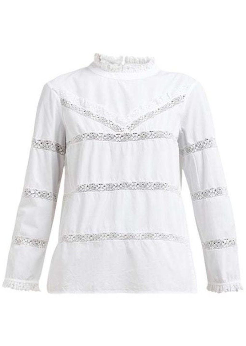 Sea Crochet-insert cotton blouse