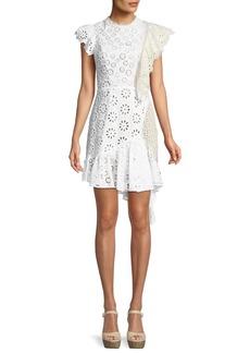 Sea Edie Eyelet Lace-Back Asymmetric Ruffle Dress