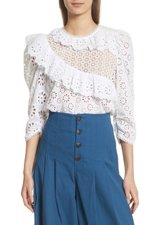 Sea Edie Ruffle Trim Eyelet Top