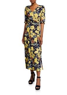 Sea Ella Floral-Print Ruffle Midi Wrap Dress