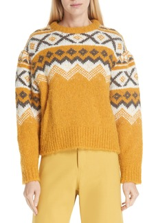 Sea Fair Isle Shirred Sleeve Sweater