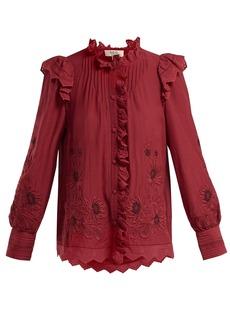Sea Greta floral-embroidered cotton-blend blouse
