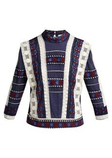 Sea Ila high-neck lace voile blouse