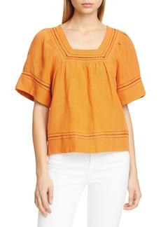 Sea Izzy Puff Sleeve Cotton & Linen Top