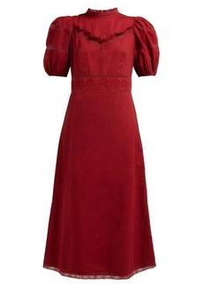 Sea Lace-trimmed cotton-poplin midi dress