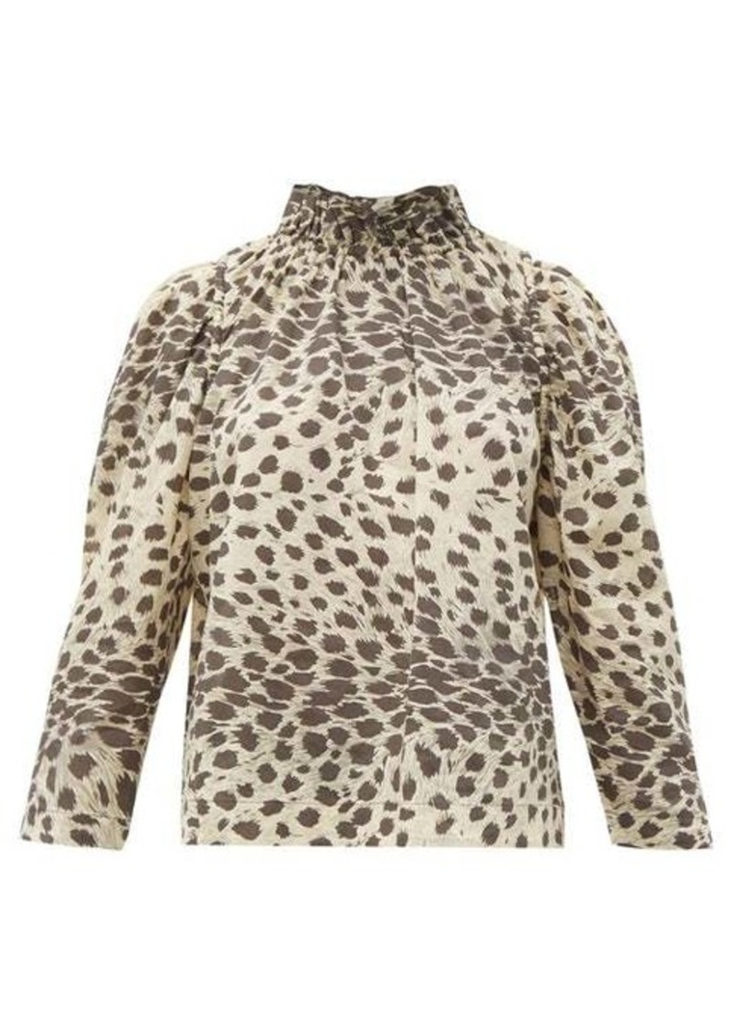 Sea Leo ruffled leopard-print cotton-voile top