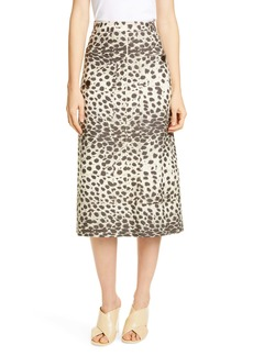 Sea Leopard Print Midi Skirt