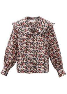 Sea Leslie Peter Pan-collar cotton-poplin blouse