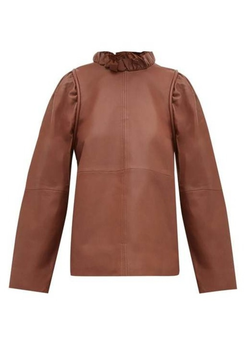 Sea Lidia ruffled-neck leather top