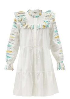 Sea Linden patchwork-trimmed cotton-poplin dress
